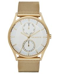 Skagen | Metallic Men's Holst Gold-tone Stainless Steel Mesh Bracelet Watch 40mm Skw6173 for Men | Lyst
