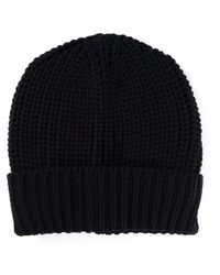 Lanvin - Black Thick Knit Beanie for Men - Lyst