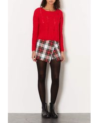 TOPSHOP | Red Petite Knitted Ladder Stitch Jumper | Lyst