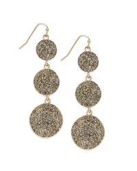 INC International Concepts - Metallic 12k Goldplated Black Diamond Pave Triple Disc Earrings - Lyst