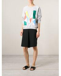 MSGM - Gray M Embroidered Sweatshirt - Lyst