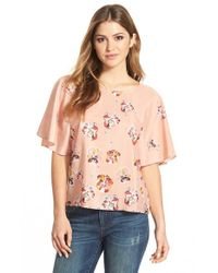 Cece by Cynthia Steffe - Multicolor 'chateau' Floral Print Flutter Blouse - Lyst