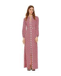 Tory Burch - Embellished Textured Stretch Silk Caftan - Lyst