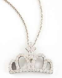 Roberto Coin | Metallic Diamond Crown Necklace | Lyst