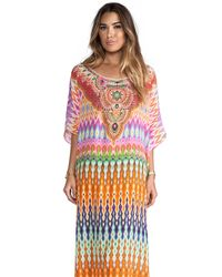 Camilla | Multicolor V-neck Printed Silk Long Coverup Dress | Lyst