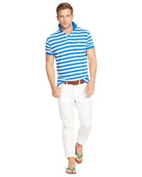 Polo Ralph Lauren   Blue Classic-fit Striped Mesh Polo for Men   Lyst