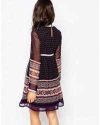 Diya - Blue High Neck Swing Dress With Paisley Border Print - Lyst