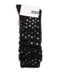 Hue - Black Sequined Slouch Socks - Lyst