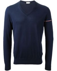 Moncler - Blue Striped Sleeve Jumper for Men - Lyst
