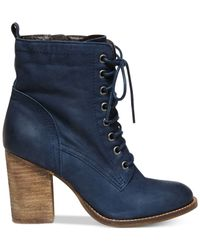 Steve Madden | Blue Lauuren Lace-up Booties | Lyst