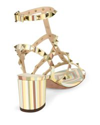 Valentino - Yellow Rockstud Striped Leather Sandals - Lyst