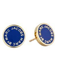 Marc By Marc Jacobs | Blue Enamel Logo Disc Studs Earring | Lyst