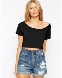 ASOS | Black Cropped Sweatshirt With Off Shoulder Detail And Short Sleeves | Lyst