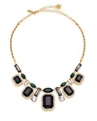 kate spade new york - Black Art Deco Gems Graduated Necklace - Lyst