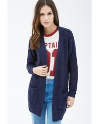 Forever 21 | Blue Textured Knit Open-front Cardigan | Lyst