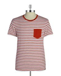 Grayers - Red Breton Striped Cotton Tee for Men - Lyst