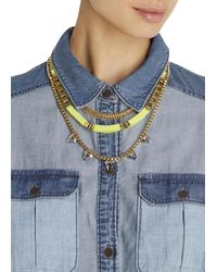 John & Pearl | Metallic Quantum Gold Plated Triple Chain Necklace | Lyst