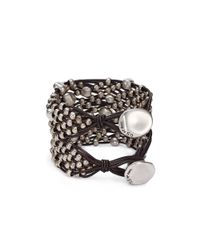 Uno De 50 | Metallic Tif Taf Beaded Leather Bracelet | Lyst