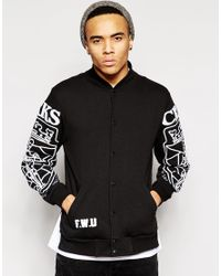 Crooks and Castles - Black Baseball Jacket With Chenille Logo for Men - Lyst