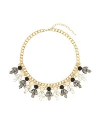 Mikey | Metallic Crystal Enamel Flowers Linked Choker | Lyst
