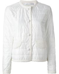 Ermanno Scervino | White Contrasting Trim Quilted Jacket | Lyst