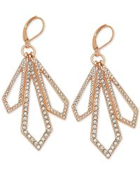T Tahari | Metallic Rose Gold-tone Crystal Geometric Drop Earrings | Lyst
