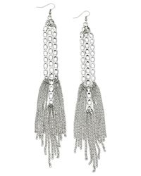 Guess | Metallic Silver-tone Link And Chain Fringe Drop Earrings | Lyst