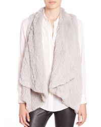 H Brand | Gray Audra Rabbit Fur Vest | Lyst