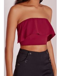 Missguided | Purple Bandeau Double Layer Bralet Burgundy | Lyst