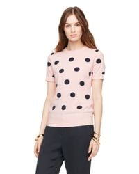 kate spade new york - Pink Intarsia Dot Sweater - Lyst