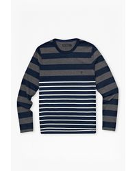 French Connection | Gray Craven Stripe Long Sleeve T-shirt for Men | Lyst