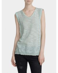 White + Warren - Green Cotton Slub Roll Edge Top - Lyst