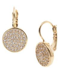 Anne Klein | Metallic Goldtone And Crystal Drop Earrings | Lyst
