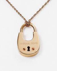 "Michael Kors - Pink Padlock Pendant Necklace, 16"" - Lyst"