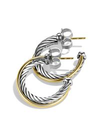 David Yurman | Metallic Crossover Small Hoop Earrings With Gold | Lyst