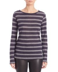 Saks Fifth Avenue | Purple Stripe Cotton-cashmere Long-sleeve Tee | Lyst