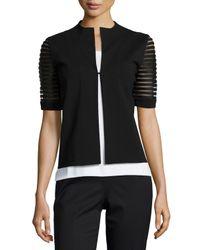 Lafayette 148 New York - Black Punto Milano Lattice-sleeve Jacket - Lyst