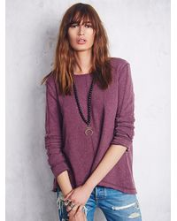Free People - Purple Womens Low Back Shirred Pullover - Lyst