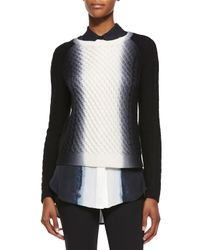 VINCE | Black Dip-dye Cable-knit Crewneck Sweater | Lyst