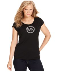 Michael Kors | Black Michael Plus Size Short-Sleeve Mk-Logo Tee | Lyst
