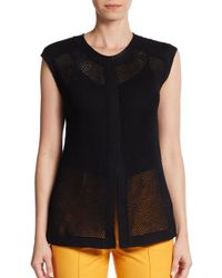 Lafayette 148 New York | Black Cotton-mesh Vest | Lyst