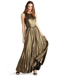 Donna Morgan | Black Pleat Foil Knit Maxi Dress | Lyst
