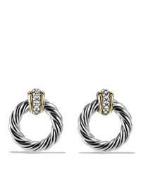 David Yurman - Metallic Metro Earrings With Diamonds And Gold - Lyst