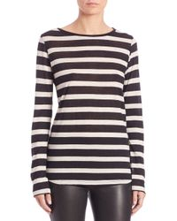 Saks Fifth Avenue - Black Stripe Cotton-cashmere Long-sleeve Tee - Lyst