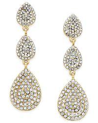 INC International Concepts | Metallic Gold-tone Pave Triple Teardrop Earrings | Lyst