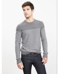Banana Republic | Gray Striped Extra-fine Merino Wool Crew Pullover for Men | Lyst