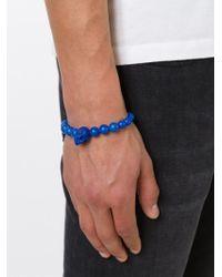 Alexander McQueen - Blue Beaded Skull Bracelet for Men - Lyst