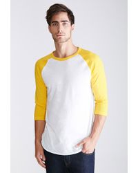 Forever 21 | White Colorblocked Raglan Baseball Tee for Men | Lyst
