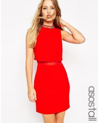 ASOS - Red Embellished Stand Collar Mini Dress - Lyst