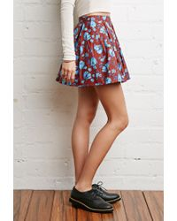 Forever 21 | Blue Pleated Floral Skirt | Lyst